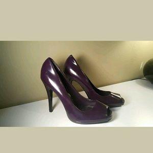 $80 Aldo dark purple peep toe heels